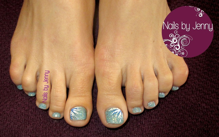 Glitter Toes with Painted Accents -- Nails by Jenny in St. George, Utah