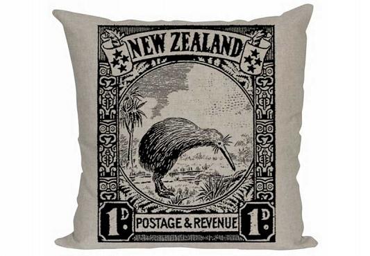 NZ stamp cushion by Eden Ripley