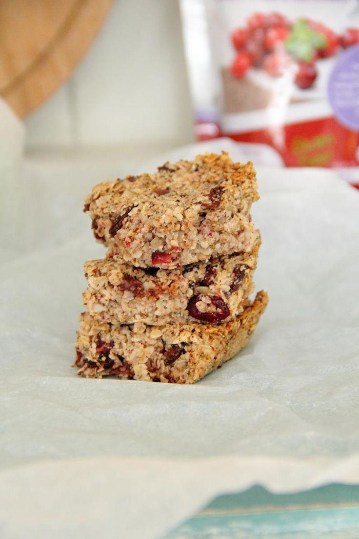 Healthy Cranberry Chia Flapjack | Vegan