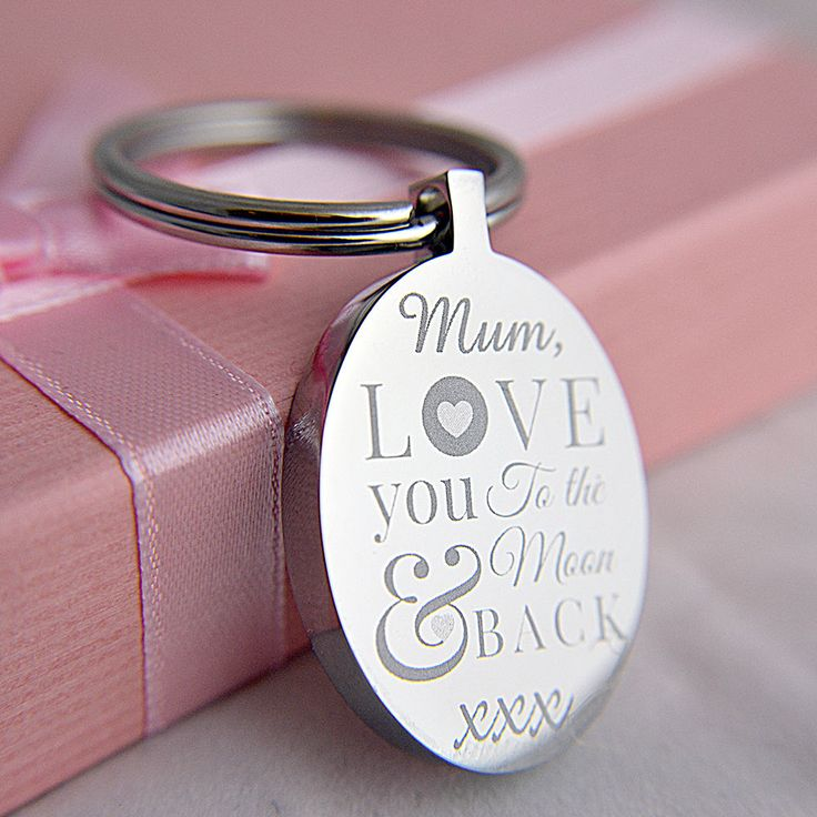 ENGRAVED LOVE YOU TO THE MOON & BACK OVAL KEYRING FOR MOTHER S DAY, BEST GIFT