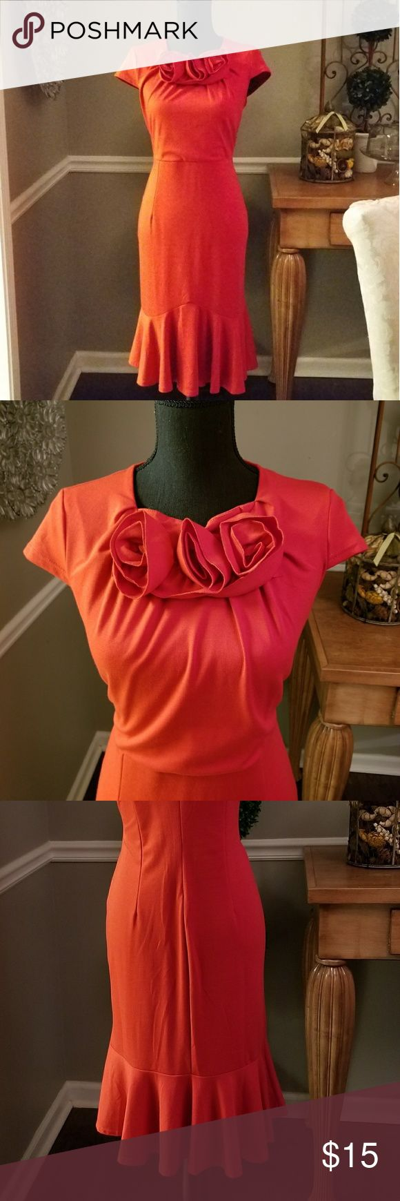 Little Red peplum Dress. Jersey knit, red peplum dress with jersey knit formed roses at the collar. This dress runs very small. True size is 9/10 11/12. Korean Dresses Midi