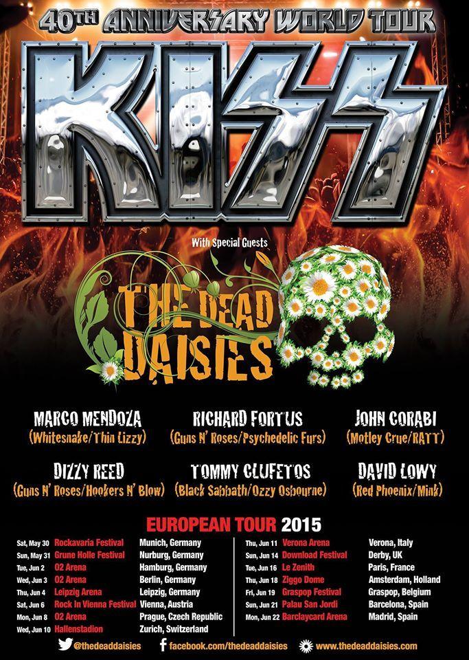 KISS European tour with the Dead Daisies 2015 tour poster ...