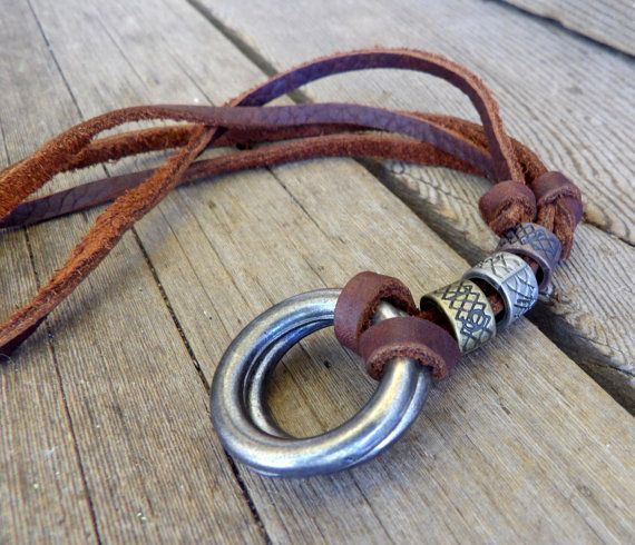 Mens leather Necklace, Mens jewelry, Geometric jewelry, Necklace, Fathers day, Dad's gift, Inustrial jewerly