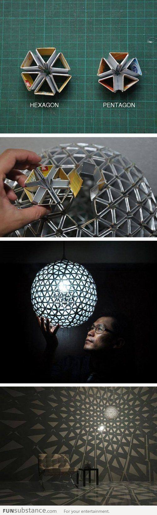 Create your own disco ball - but classy modern style!  DIY beautiful cardboard lamp