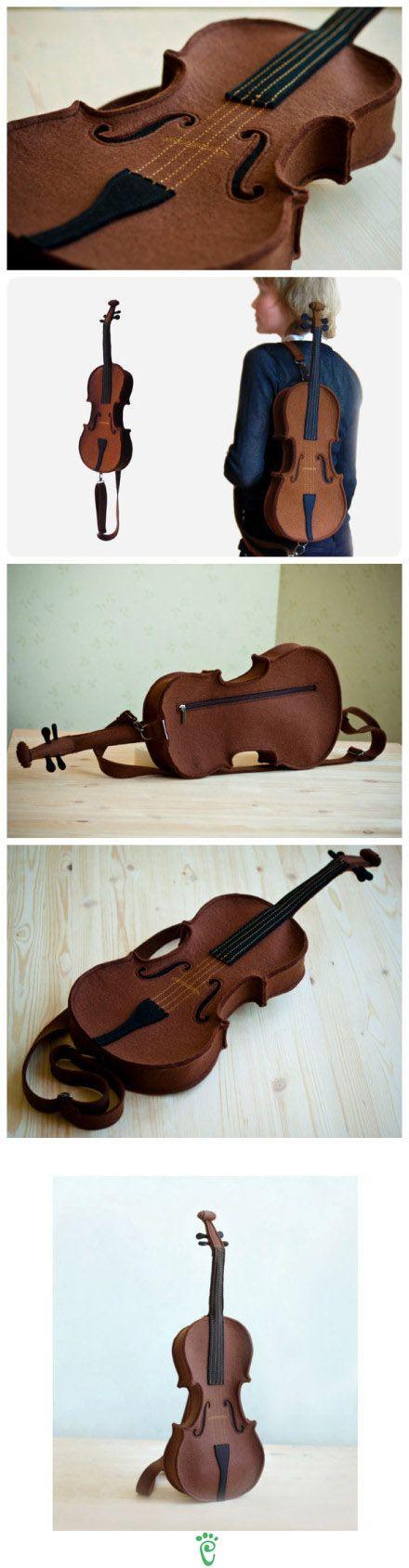 Bolso en forma de violín en fieltro