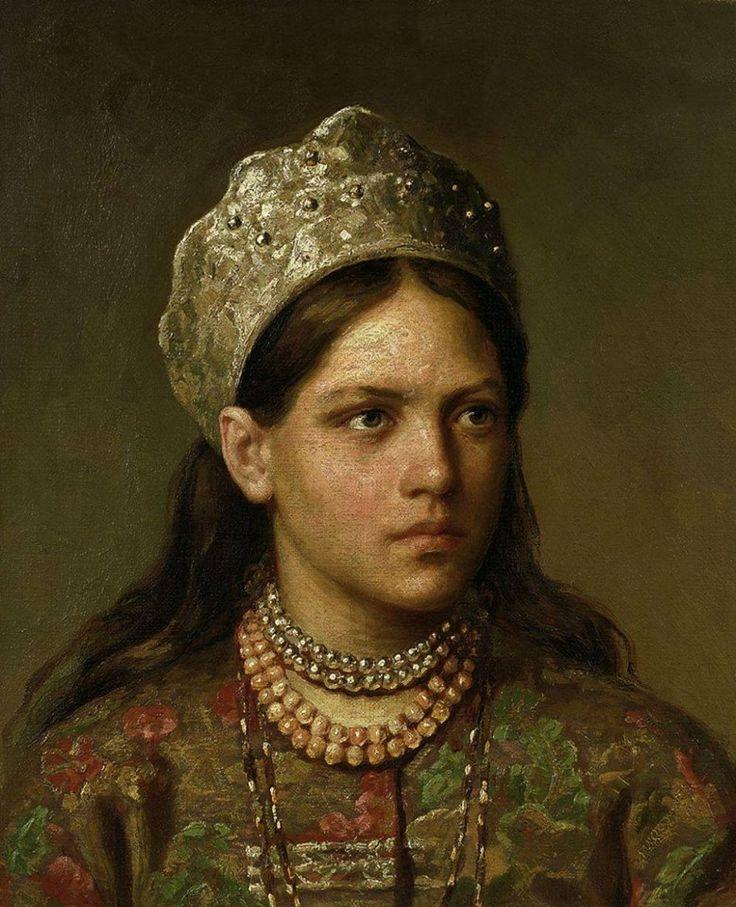 Журавлев Фирс Сергеевич - Firs Sergeïevitch Zhuravlev (1836 1901) - Portrait d'une jeune fille russe en costume national - 1868 . Déterminée, la jeune fille; quelle présence ! Et quelle merveilleuse technique ! Application, touche, empâtement, palette, tout semble entièrement au service de cette beauté-là.