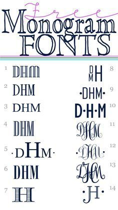 How to make a printable monogram to embellish decorative accessories and gifts - Free Monogram Fonts