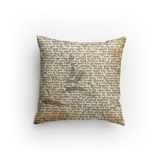 Make your space a little more magical with this Harry Potter Sorting Hat Song pillow. This pillow features all 3 of the Sorting Hats songs.  This
