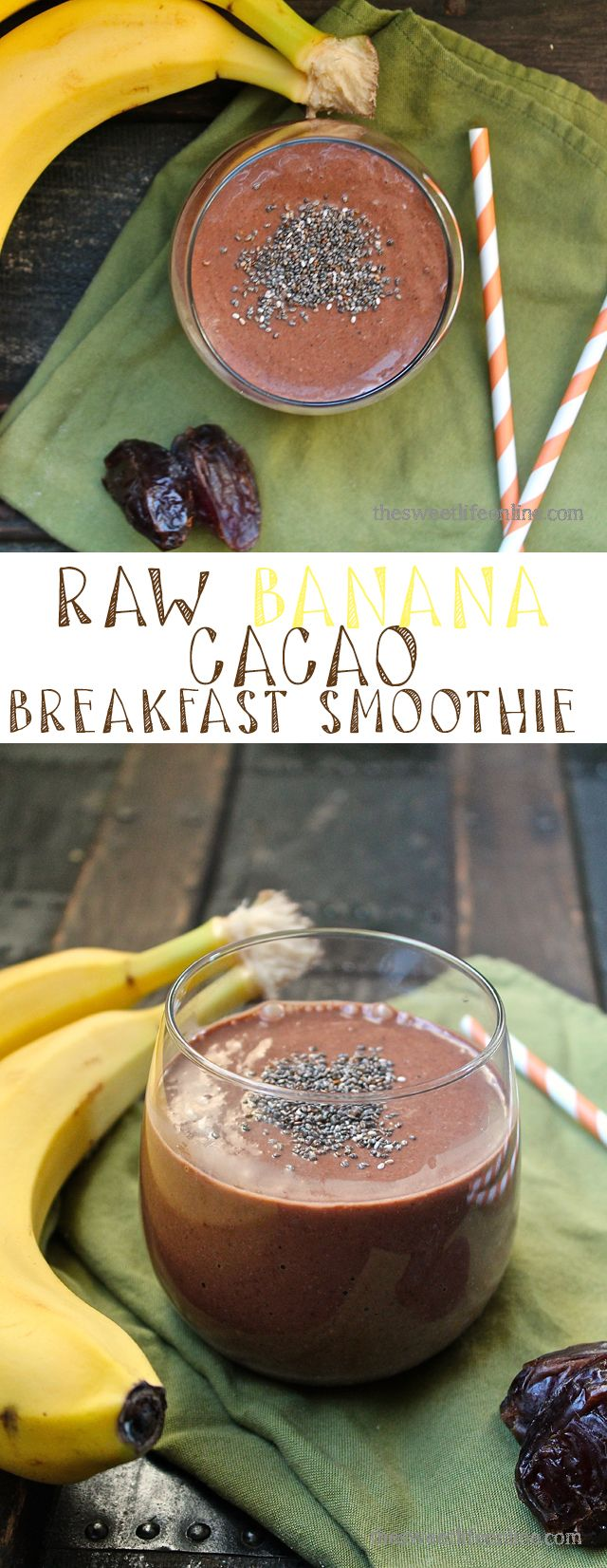 Start your day off right with this raw banana cacao breakfast smoothie - packed with flavor and protein. Click the photo to the full recipe.