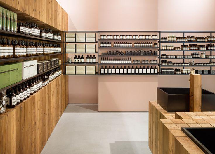 Torafu Architects uses Japanese cedar columns in Aesop shop interior.