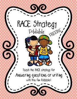This foldable teaches students to use the RACE Strategy (Restate the question, answer the question, cite text evidence, explain their answer.) This is a great way to review or introduce the strategy.   It is perfect for interactive reading or writing notebooks, and best of all, its FREE!