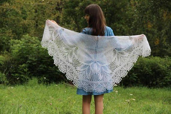 Wedding Shawl from White Kid Mohair Silk Blend Yarn. Knitted