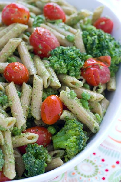 Basil Pesto Salad Recipe Ingredients     1 package penne pasta     3 cups broccoli florets (or the broccoli florets from one package of fresh broccoli)     2 cups or 1 small package cherry or grape tomatoes     1 cup frozen peas, defrosted     1 cup fresh basil pesto     1/4 cup pine nuts     kosher salt     olive oil
