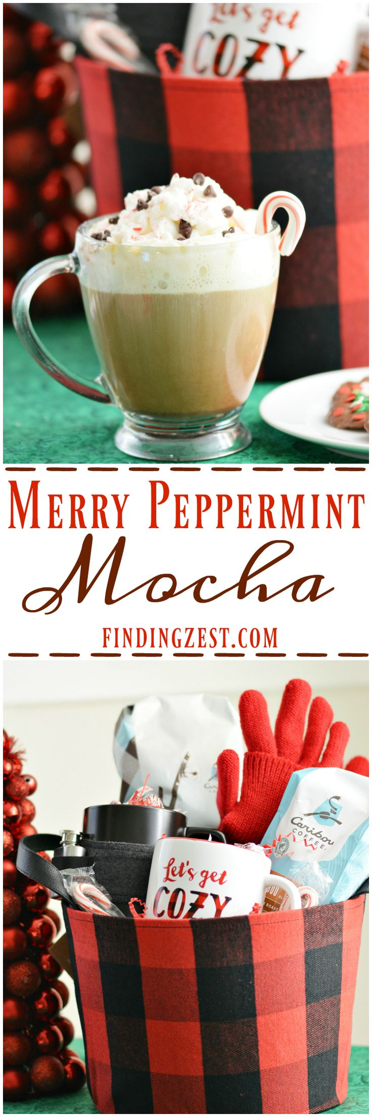 Try this easy Merry Peppermint Mocha coffee drink you can make at home with just a few ingredients and Caribou Coffee.