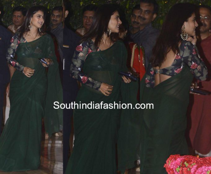 6932265302027f kajol devgan plain green saree with printed full sleeves blouse at ambani  ganesh festival celebrations