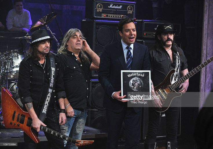 Phil Campbell, Mikkey Dee and Lemmy Likmister of Motorhead appear with Jimmy Fallon on 'Late Night with Jimmy Fallon' at Rockefeller Center on March 2, 2011 in New York City.  (Photo by Theo Wargo/Getty Images)