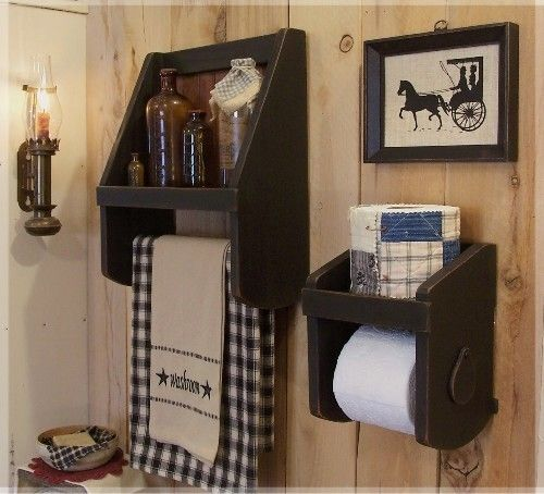 Primitive Towel Shelf / Bathroom Storage / Colonial Charm / Farmhouse Favorite / Color Choice. $40.00, via Etsy.