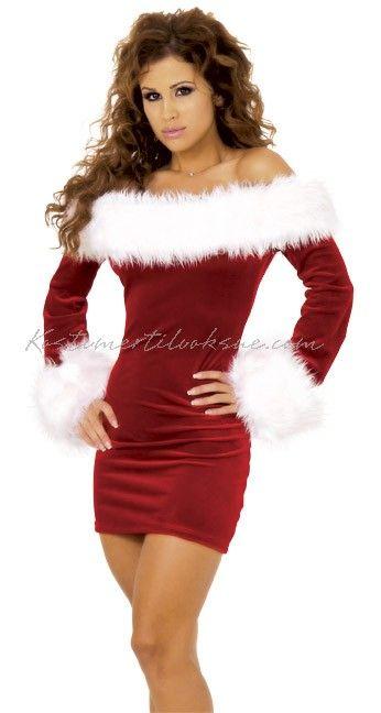 Frække santa pels trimmet fløjl Jul Kostume