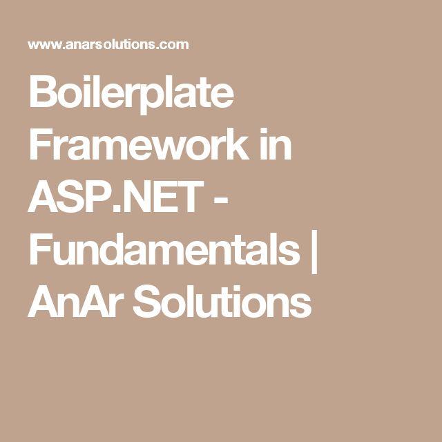 Boilerplate Framework in ASP.NET - Fundamentals | AnAr Solutions