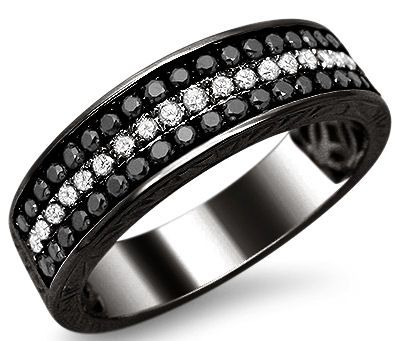 Mens .55ct Black & White Round Diamond Pave Wedding Band Ring 14k Black Gold