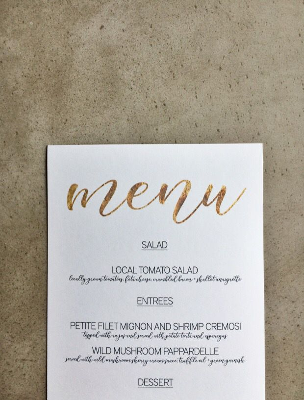 Super Simple Wedding DIY: Use Microsoft Word to edit and print these sweet menus for your next event! Best of all, they're free!