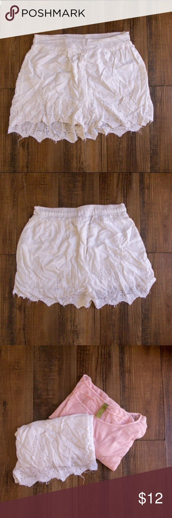 Lace Trim Shorts White prairie shorts with a floral pattern on the bottom. These are incredibly comfortable and cute! Getting rid of only because we are downsizing our closet due to our small space in the camper. Shorts