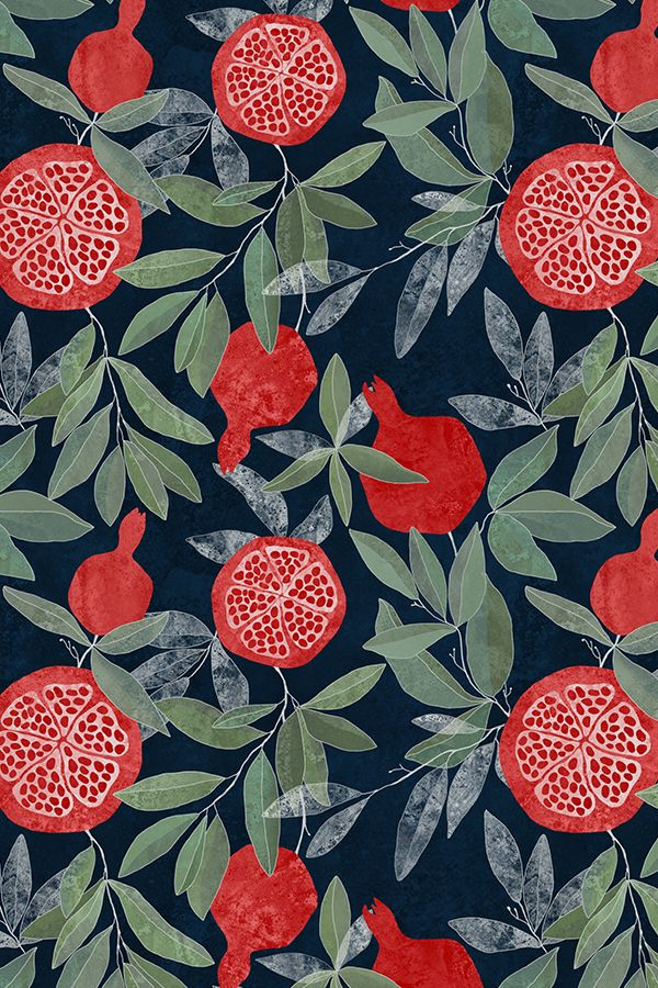 Pomegranate garden on dark by lavish_season - Hand illustrated pomegranate pattern on a dark background on fabric, wallpaper, and gift wrap. Bright red pomegranates with olive green leaves.