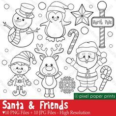 Santa and Friends – Digital stamps set – Christmas clipart