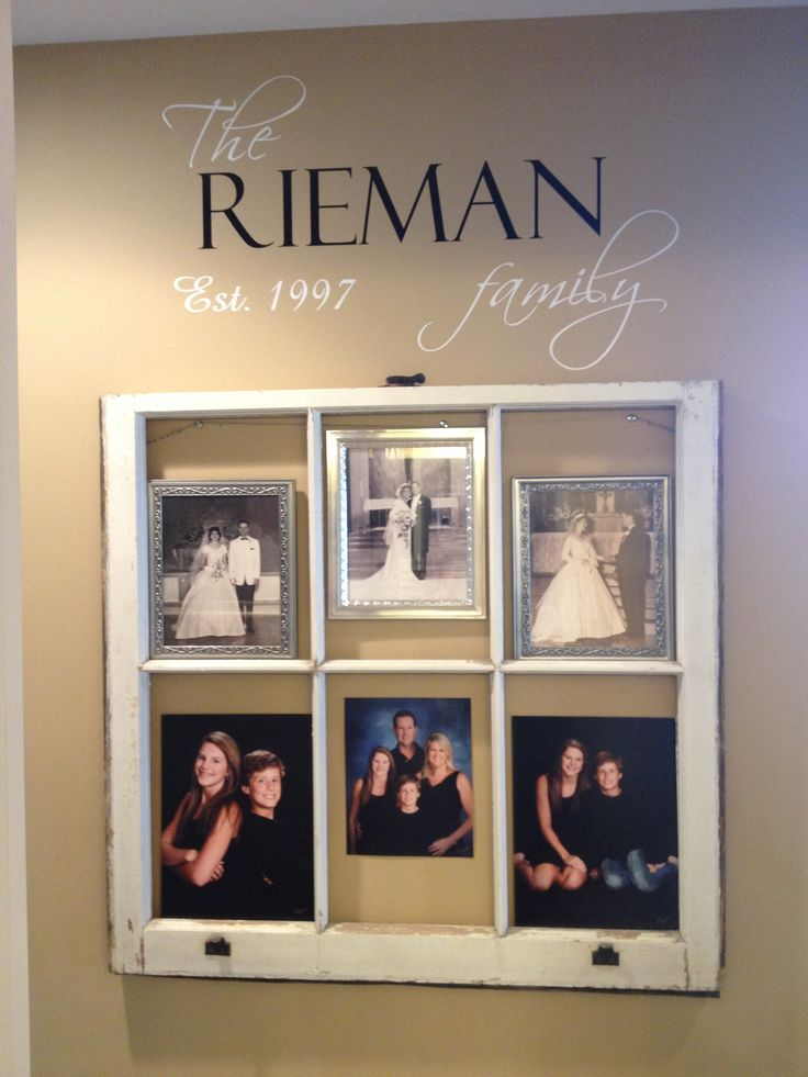 Family wall using old window wall decor pinterest for Family home decor ideas