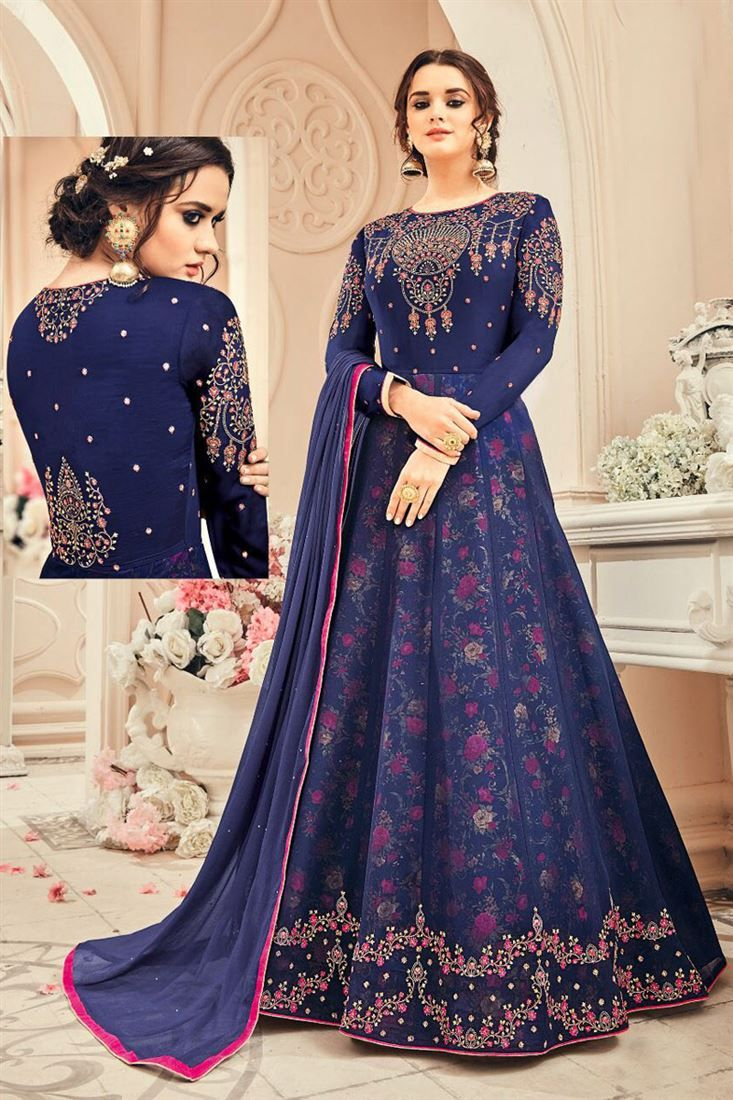 Online Shopping of Navy Blue Georgette Embroidered Floor Length Anarkali Dress from SareesBazaar, leading online ethnic clothing store offering latest collection of sarees, salwar suits, lehengas & kurtis