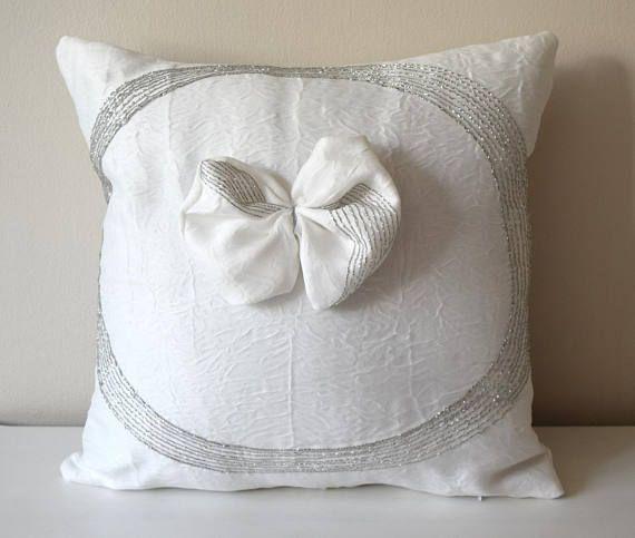 "Ready to Ship White Cushion Cover, Decorative Pillow, 18x18"" Cushion, Shinny Pillow, Cushion with Bow, Throw Pillow, Elegant Pillow"