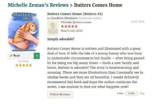 Another 5 Stars for Butters Comes Home! Thank you Michelle #IARTG #Childrensbook #ASMSG http://bit.ly/29xuFSf