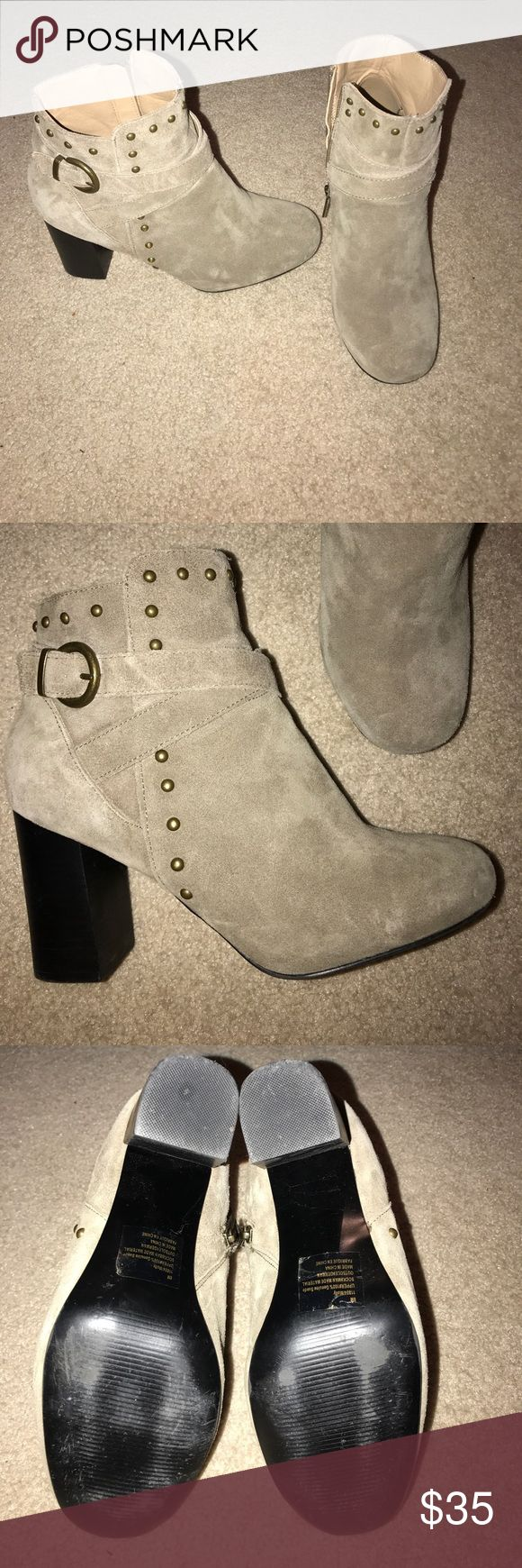 Suede ankle boots Women's suede tan ankle boots only worn a couple times. There are some hardly noticeable lighter marks around the toe area but they came from the store that way. Maurices Shoes Ankle Boots & Booties
