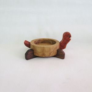 Handmade woodworking  turtle decoration candle holder - jabbugi 거북이 장식 자뿌기 3481