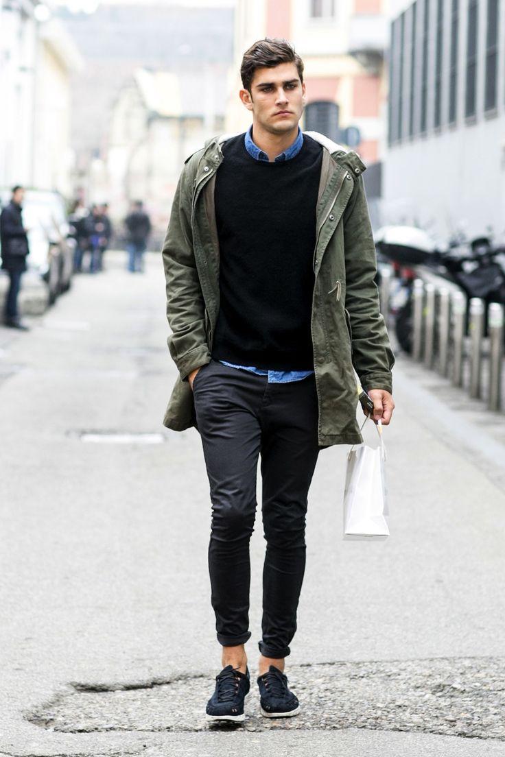 ナイロンパーカー,ブラックスキニージーンズ,メンズファッション着こなしコーデ