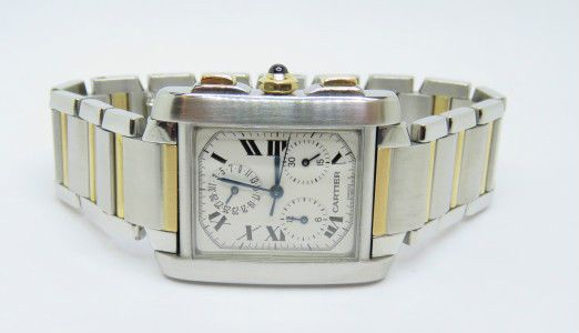 CARTIER Tank Francaise Chronograph Steel & 18k Gold Men Size Used Watch