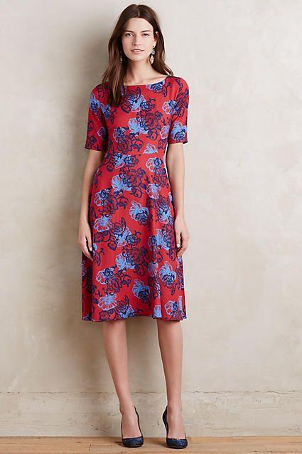 Hd In Paris Theodora Midi Dress Red And Blue Midi Dress