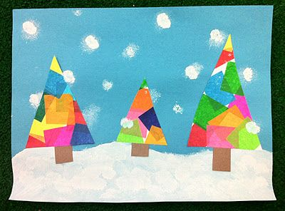 winter art with tissue paper