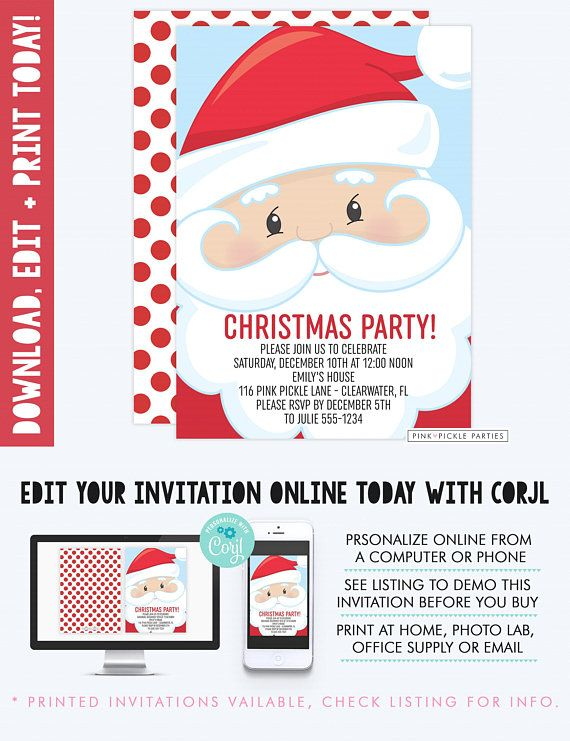 Santa Invitation, Santa Invite, Santa Claus Invitation, Santa Claus Invite, Kids Christmas Invite, Santa Birthday, Santa Birthday Party |116