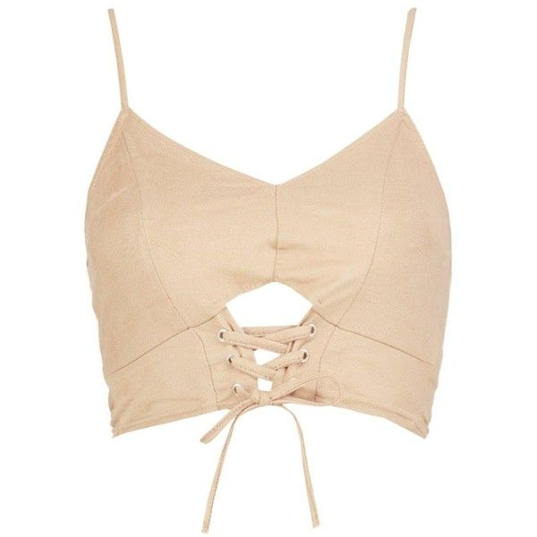 Boohoo Petite Sasha Suedette Tie Up Crop Top ($10) ❤ liked on Polyvore featuring tops, beige top, boohoo tops, tie crop top, beige crop top and tie top