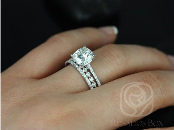 Rosados Box Marcelle 8mm & Petite Naomi 14kt White Gold Cushion FB Moissanite and Diamond TRIO Wedding Set