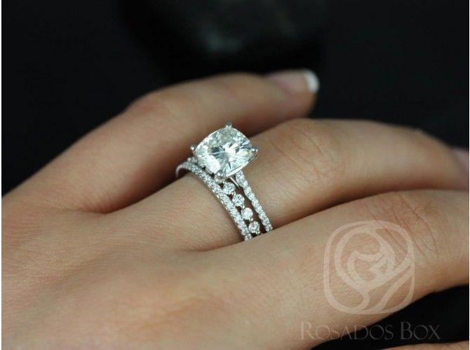 Rosados Box Marcelle 8mm & Petite Naomi 14kt White Gold Cushion FB Moissanite and Diamond TRIO Wedding Set