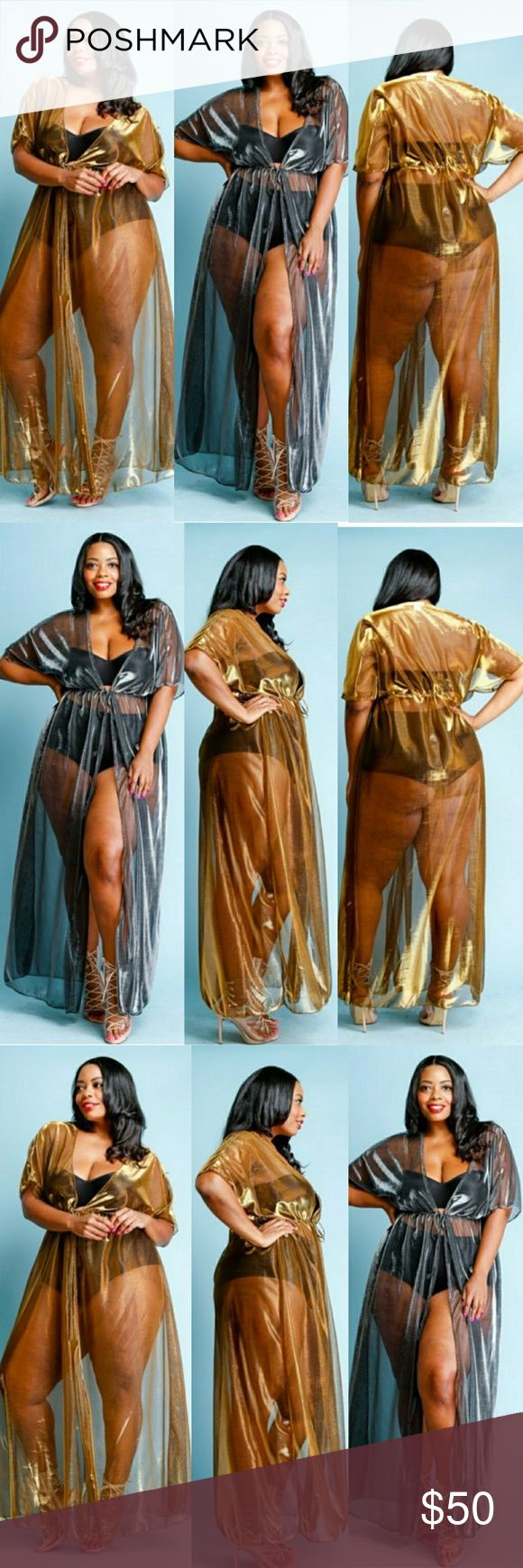 Plus Size Metallic Cocktail Long Sheer Robe Plus Size Metallic Cocktail Long Sheer Robe Category:?Jackets Fabric:?POLYESTER Content:?50% Polyester, 50% Metallic Dresses Maxi
