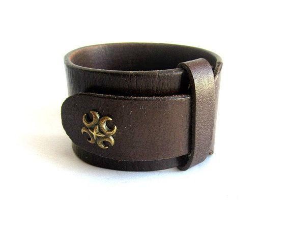 Mens brown leather cuff bracelet mens leather bracelet