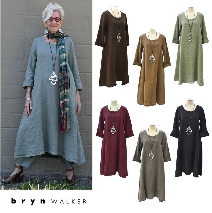 BRYN WALKER Heavy Linen LINUS DRESS Basic LS Long A-Line 1X 2X 3X FALL 2016 #BrynWalker #LongALine #Versatile