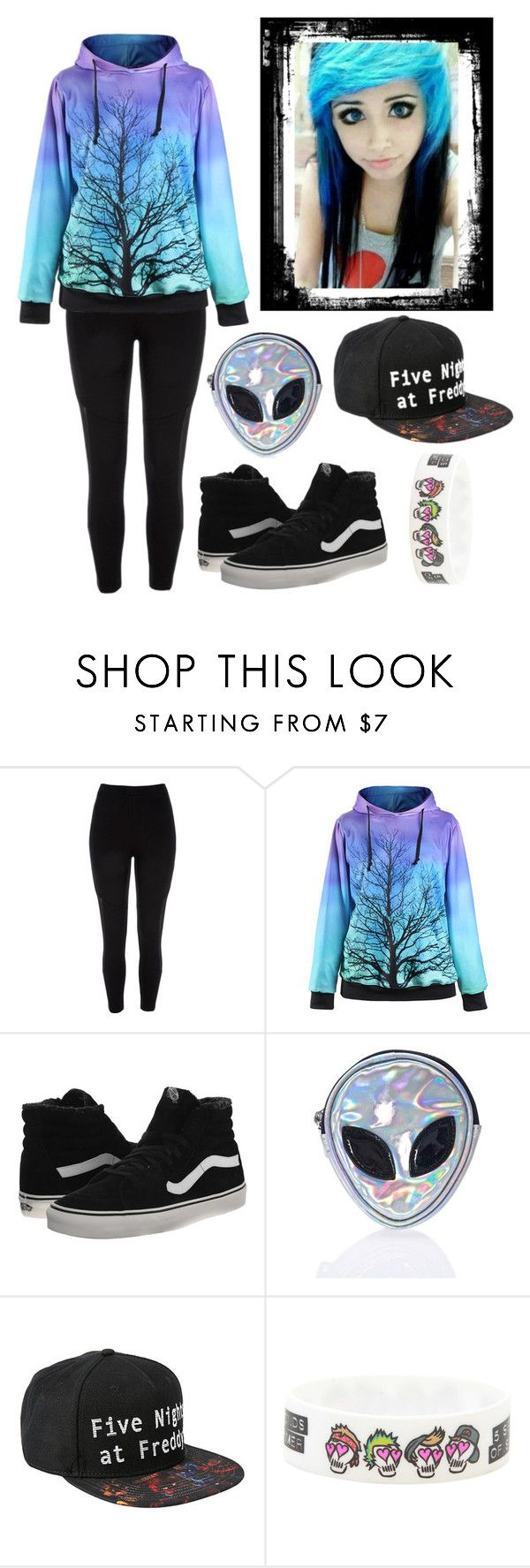 """Scene Girl Junior Outfit #6"" by taylor-kennedy-i ❤ liked on Polyvore featuring River Island, Vans, Disturbia, school, scene, fashionset and Junior"