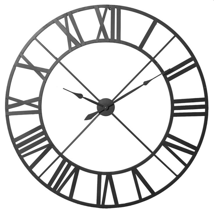 Large wrought iron clock to be situated on far wall opposite door.