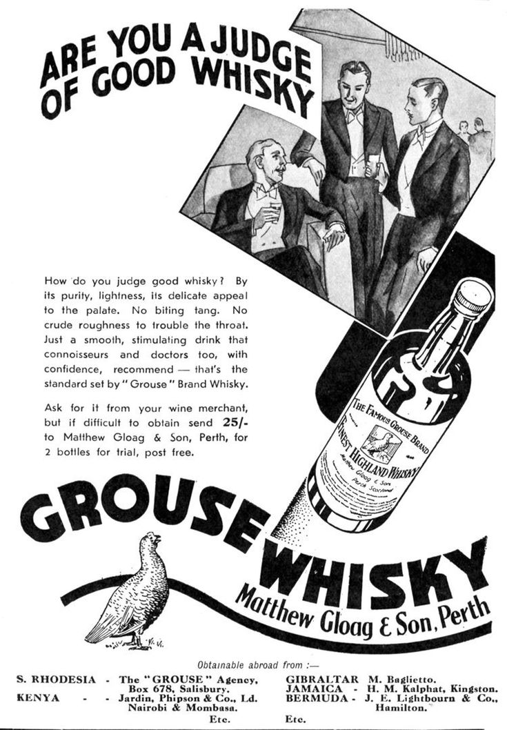 Famous Grouse - Gloag's Perth whisky grouse brand.  1920s advertisement