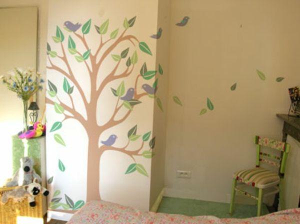 Kinderzimmer Wandbemalung Baum   Beige Hintergrund