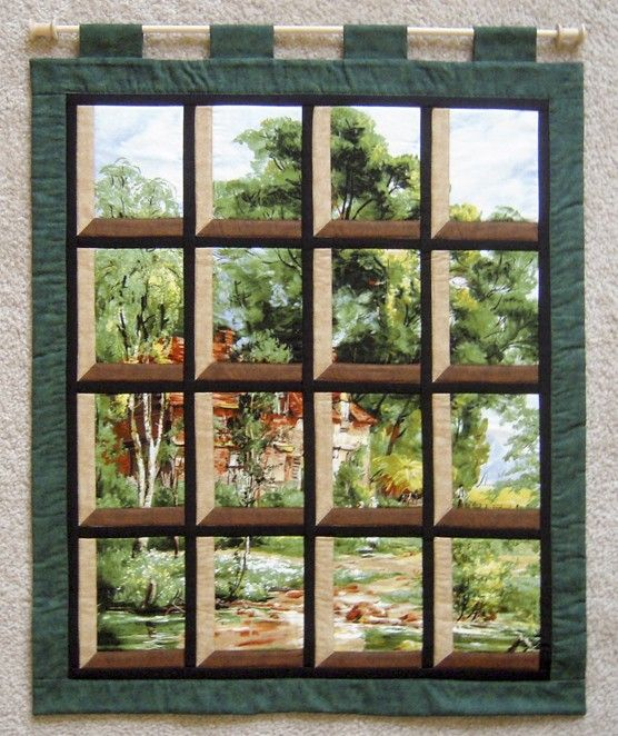 Attic window house on a path too cute window and fabrics for Window pane quilt design